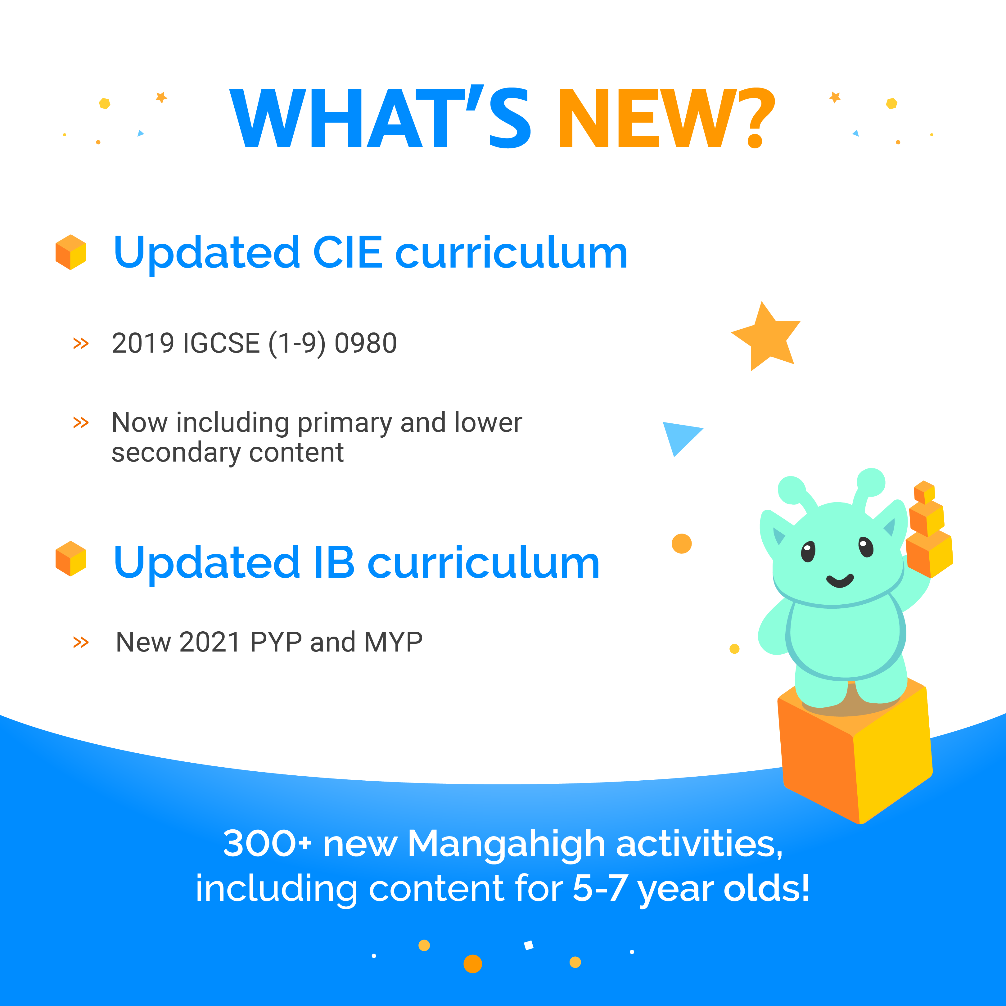 what's new? Updated CIE curriculum, 2019 IGCSE (1-0) 0980. Now including primary and lower secondary content. Updated IB curriculum, new 2021 PYP and MYP. 300+ new Manahigh activities, including content for 5-7 year old