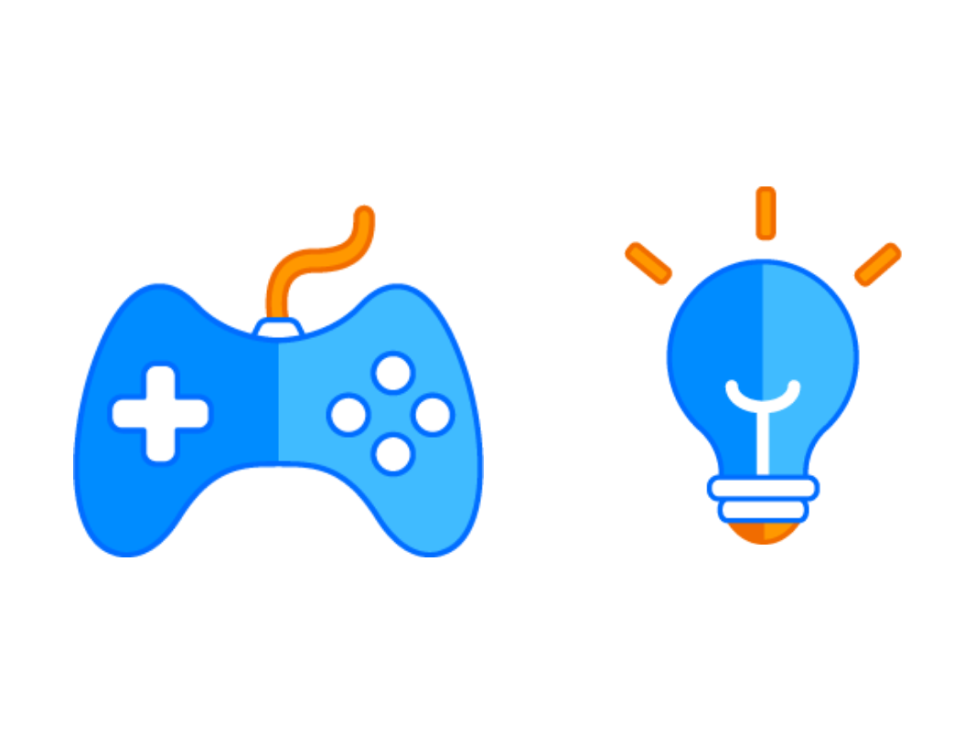 Cartoon games console controller and lightbulb